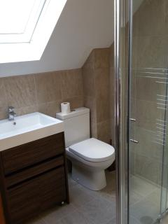 Believe us when we say it matters where you sit! Lovely bathroom with double shower.