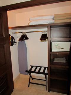Safe, Iron, Ironing Board and plenty of closet/storage space