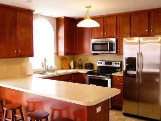 Full gourmet kitchen, stainless steel appliances,