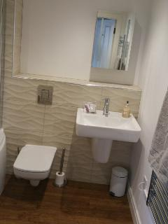 beautiful brand new bathroom, with Porcelanosa tiles