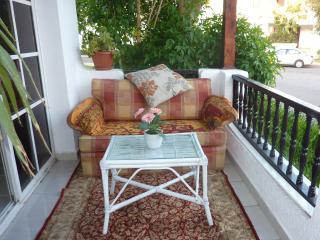 Patio area with sofa and patio furniture