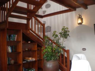 Salón con biblioteca y escaleras al dormitorio superior independiente.