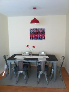 Dining table and seating for six guests