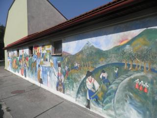 Slovakia mural on side of villas