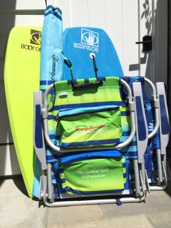 Beach chairs, boogie boards and umbrella for your beach days!