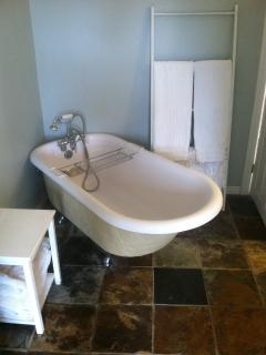 Lark's Cottage clawfoot tub with telephone-style shower attachment.