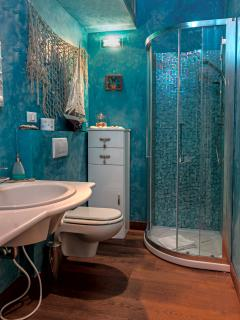 'Aquamarine' bathroom, downstairs near kitchen and dining area.