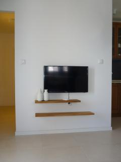 hand made shelves from croatian acacia, flat TV