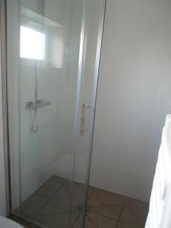 Shower with heated towel rail
