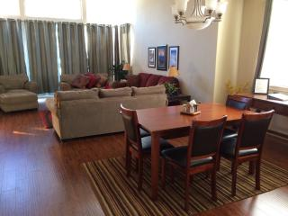 Dining Area, Great Room, Red Sofa is a hide-a-bed with self inflating air mattress.
