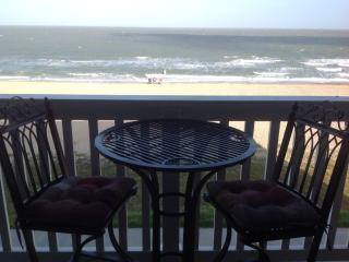 Beachfront View from Balcony.  Breakfast, Lunch, Dinner, wine, spirits on Balcony!