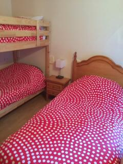 Bedroom 3 - Bunks and a single bed - with built in double Wardrobe