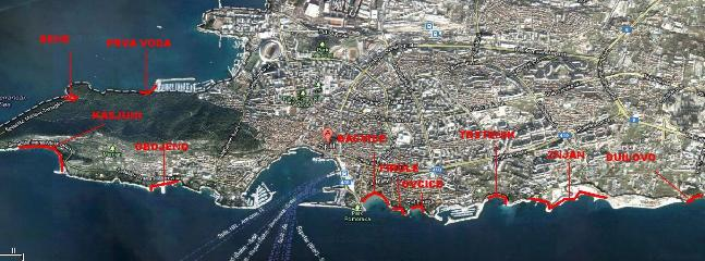 map of the beaches in Split