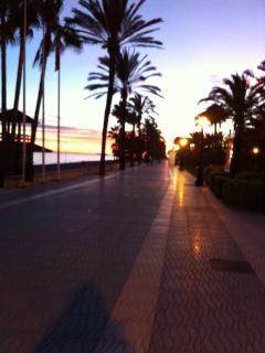 Beach front boulevard at sunset