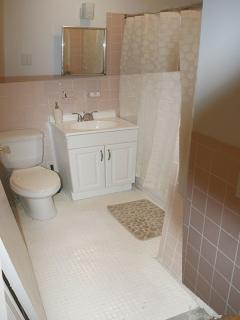 BATHROOMVIEW OF SECOND BATHROOM IN THE HOUSE WITH DESIGNER SHOWER CURTAINS, SOAP, SHAMPOO, PAPER, AN