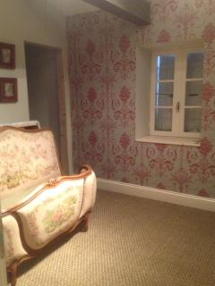 en suite bedroom, lovely double tapestry french style bed, wardrobe, dressing table cabinets.