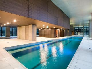 An indoor heated pool & sauna.