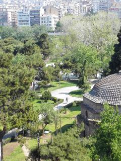 View of Bey Hamam, Aristotelous Park and Roman Market from the balcony