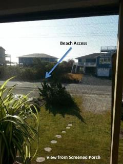 Partial ocean view, beach access directly across the street