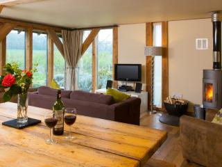 The Lodge (sleeps 4). The sunny open plan living area.