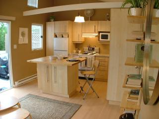 Well-equipped kitchen with dinning for two.