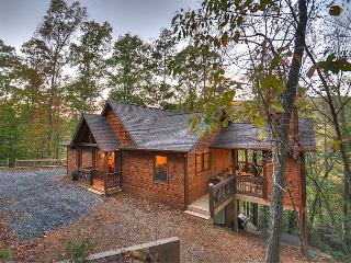 North Georgia Cabin Rental with Waterfall, Firepit, Outdoor Fireplace, Blue Ridge