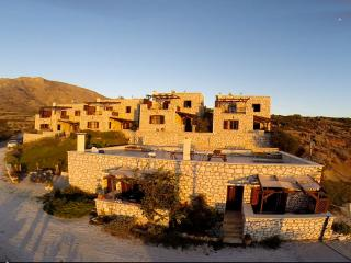 Traditional stone houses with panoramic sea view, Makrys-Gialos
