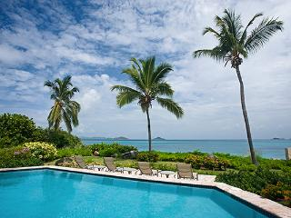 Private villa next to a shared tennis court, this villa overlooks the beach and its own pool. VG CAR, Virgin Gorda