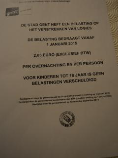 Attest provided by the tax office of Gent on tourist tax requirement (excluded in rental price)