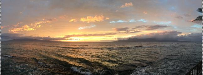 AMAZING PHOTO TAKEN BY GUEST AMBER IN MARCH 2015; Istands of Lana'i to left, Moloka'i to right.