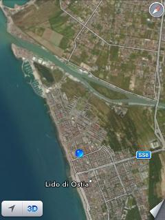 Aereal view of Ostia, Fiumicino Airport and the mouth of the Tevere River.