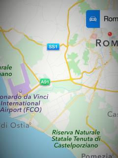 Aereal view of the coast of Ostia, Fiumicino Airport, Loop Raccordo Anulare, Centro of Rome