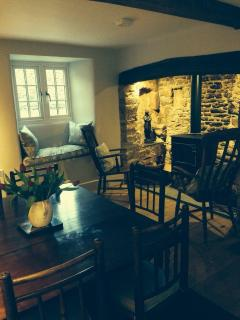 Dining room with seating for 6 and inglenook fireplace