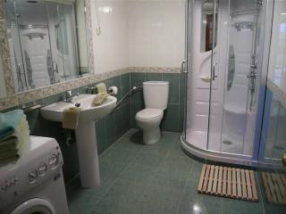 Bathroom with hydro massage shower and washing machine