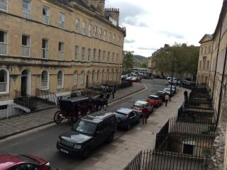 View down onto Henrietta Street from the apartment. Horse drawn carriages regularly pass below.