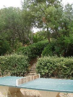 L'espace ping-pong au coeur du jardin méditerranéen.