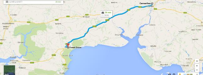 Map from Carmarthen to Forest Grove