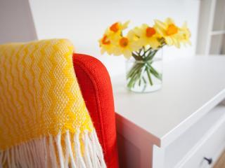 Bright fresh flowers and fabrics