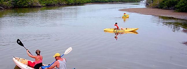 Free use of kayaks and canoes to explore clam Bayou right at your back door!
