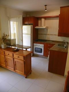 Cocina americana. Lavadora, horno, microondas, frigorífico grande