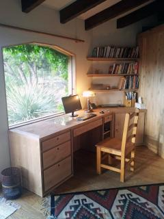 ...a spacious, custom alder desk...