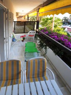 Spacious balcony for al-fresco breakfasts or romantic evening meals. Garden undergoing maintenance.