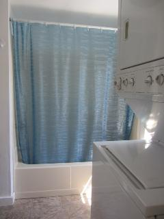Shower + bath tub, washer dryer