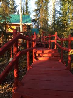 View of early morning light on cabin.