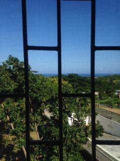 Great view of the ocean through one of the windows.