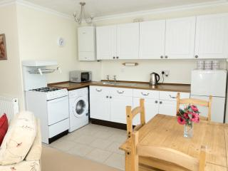 Our fully equipped kitchen and dining area with four chairs.