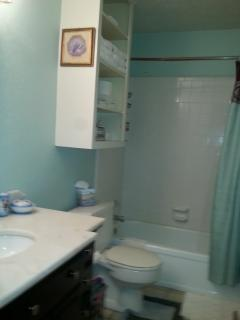 Full bath with tub/shower combo.  Home also has a half bath between bedrooms