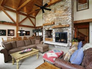 Great room with 30 foot wood burning fireplace