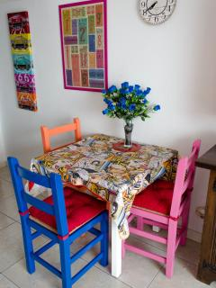 Dining table inside the apartment