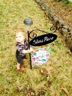 Cottage sign, and sweet grandson